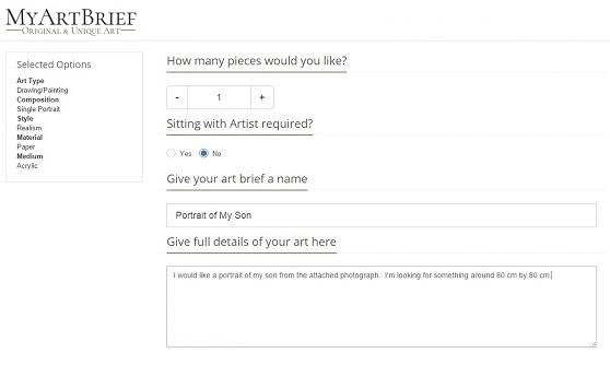 Create Brief for Art Commission by entering details